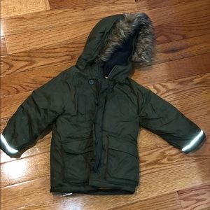 Army green ski coat